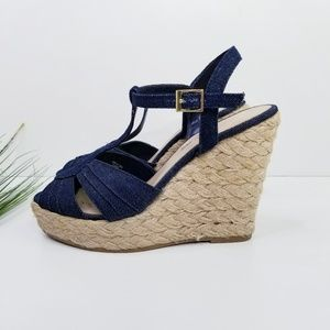 AEO Denim Espadrille Wedge Sandal